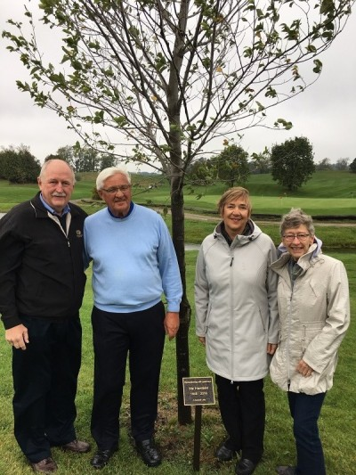 Jeff Hamblin, Pauline Mann, Brian and Luba Radke dedication one of the American Elms in honor of Val Hamblin